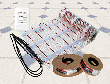 ComfortTile floor heating cable, mats and thermostat.