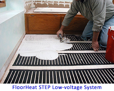 Low-voltage heated bathroom floor.
